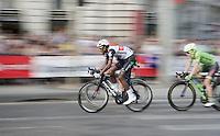 Daniel Teklehaimanot (ERI/Dimension Data) leading the way over the Chaps-Elysées cobbles<br /> <br /> Final stage 21 - Chantilly › Paris (113km)<br /> 103rd Tour de France 2016