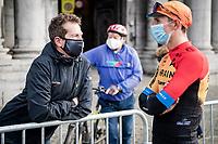 Belgian National coach Rik Verbruggen checking up on Dylan Theuns (BEL/Bahrein-McLaren) at the start<br /> <br /> 106th Liège-Bastogne-Liège 2020 (1.UWT)<br /> 1 day race from Liège to Liège (257km)<br /> <br /> ©kramon