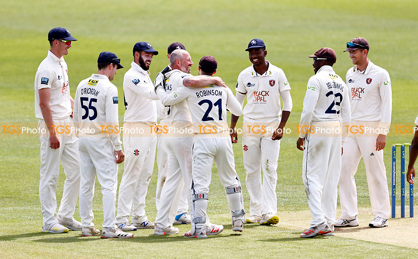 Darren Stevens (C) of Kent is congratulated after taking the wicket of Saif Zaib during Kent CCC vs Northamptonshire CCC, LV Insurance County Championship Group 3 Cricket at The Spitfire Ground on 5th June 2021