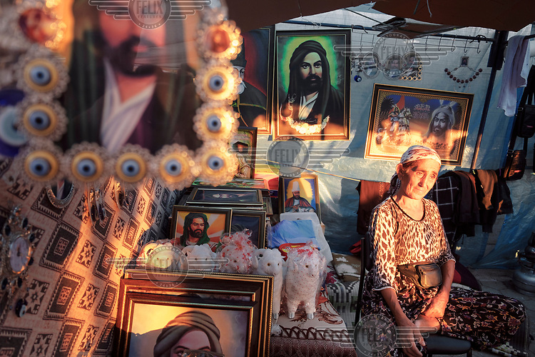 A street stall selling images of Ali, during the Alevism festival celebrating the saint Haci Bektas Veli.
