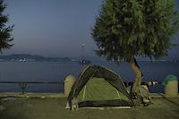 Tents where the migrants sleep near the beach. Kos, Greece. Kos, Greece. Sept. 5, 2015