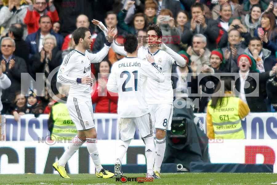 Real Madrid's Kaka, Jose Maria Callejon, Gonzalo Higuain celebrate goal during La Liga BBVA match. April 6, 2013.(ALTERPHOTOS/Alconada)