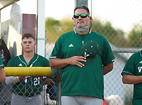 Venice Indians hitting coach Craig Faulkner during the national anthem before a game against the Braden River Pirates on February 25, 2021 at Braden River High School in Bradenton, Florida.  (Mike Janes/Four Seam Images)