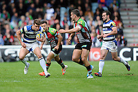Ollie Devoto of Bath Rugby in action during the Aviva Premiership match between Harlequins and Bath Rugby at The Twickenham Stoop on Saturday 10th May 2014 (Photo by Rob Munro)