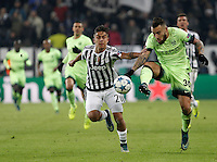 Calcio, Champions League: Gruppo D - Juventus vs Manchester City. Torino, Juventus Stadium, 25 novembre 2015. <br /> Manchester City's Nicolas Otamendi is challenged by Juventus' Paulo Dybala during the Group D Champions League football match between Juventus and Manchester City at Turin's Juventus Stadium, 25 November 2015. <br /> UPDATE IMAGES PRESS/Isabella Bonotto