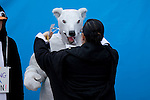 International Youth stage a creative action to highlight their frustration at having to dress like polar bears in order to get attention. UNFCCC COP 14 (©Robert vanWaarden ALL RIGHTS RESERVED)