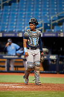 Ronaldo Hernandez (18) during the Tampa Bay Rays Instructional League Intrasquad World Series game on October 3, 2018 at the Tropicana Field in St. Petersburg, Florida.  (Mike Janes/Four Seam Images)