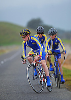 St Peter's College (Auckland) year 7 and 8 A boys in action during the NZ Schools Road Cycling championship day one time trials at Koputaroa Road, Levin, New Zealand on Saturday, 27 September 2014. Photo: Dave Lintott / lintottphoto.co.nz