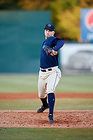 Mobile BayBears starting pitcher Jordan Kipper (27) delivers a pitch during a game against the Pensacola Blue Wahoos on April 25, 2017 at Hank Aaron Stadium in Mobile, Alabama.  Mobile defeated Pensacola 3-0.  (Mike Janes/Four Seam Images)