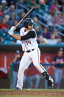 Lansing Lugnuts designated hitter Ryan McBroom (14) at bat during a game against the Peoria Chiefs on June 6, 2015 at Cooley Law School Stadium in Lansing, Michigan.  Lansing defeated Peoria 6-2.  (Mike Janes/Four Seam Images)