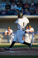 Adron Chambers (1) of the Sussex County Miners follows through on his swing against the New Jersey Jackals at Skylands Stadium on July 29, 2017 in Augusta, New Jersey.  The Miners defeated the Jackals 7-0.  (Brian Westerholt/Four Seam Images)