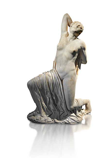"Greek  statue of a Niobid from the Horti Sallustiani (Gardens of Sallust), a Greek original from the 5th cent BC found near the Via Collina and Piazza Sallustio, Rome. The wounded female figure whose back has been struck by an arrow is one of fourteen children of Amphion of Thebes and Niobe.  According to myth, Niobe insulted Lato, mother of the divine Apollo and Artemis; ""why ever should Lato, a women of common birth, with a coarse daughter and an effeminate son, be preferred to me, the niece of Zeus and Atlas, scourge of the Phyrigians and the royal house of Cadmus?."". The vengeful Lato ordered Apollo and Artemis to kill Niobe's children who were struck down with arrows. In antiquity the myth of the Niobids was the subject matter of numerous works of art. The statue , a 5th century Greek original, was used as an ornamental piece in the Horti Sallustiani (Gardens of Sallust), where it was found with other figures of Niobids, two of which are now at the Ny Carlsberg Glypotheck in Copenhargen. Originally it was part of a pedimental group which decorated the facade of a Greek Temple. Inv 72274, The National Roman Museum, Rome, Italy"