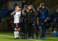 Bolton Wanderers' assistant head coach Peter Atherton advises Ali Crawford (left) <br /> <br /> Photographer Andrew Kearns/CameraSport<br /> <br /> The EFL Sky Bet League Two - Bolton Wanderers v Salford City - Friday 13th November 2020 - University of Bolton Stadium - Bolton<br /> <br /> World Copyright © 2020 CameraSport. All rights reserved. 43 Linden Ave. Countesthorpe. Leicester. England. LE8 5PG - Tel: +44 (0) 116 277 4147 - admin@camerasport.com - www.camerasport.com