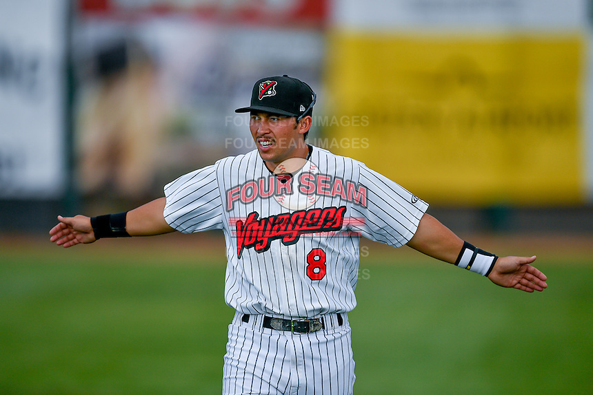 Pioneer League All-Star Brady Conlan (8) of the Great Falls Voyagers before the game against the Northwest League All-Stars at the 2nd Annual Northwest League-Pioneer League All-Star Game at Lindquist Field on August 2, 2016 in Ogden, Utah. The Northwest League defeated the Pioneer League 11-5. (Stephen Smith/Four Seam Images)