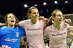 Berlin, Germany, February 01: Players of Duesseldorfer HC celebrate after defeating HTC Uhlenhorst Muehlheim 4-1 to win the Deutsche Meisterschaft on February 1, 2015 at the Final Four tournament at Max-Schmeling-Halle in Berlin, Germany. Final score 4-1 (1-0). (Photo by Dirk Markgraf / www.265-images.com) *** Local caption ***Viktoria Kammerinke #36 of Duesseldorfer HC, Selin Oruz #14 of Duesseldorfer HC, Elisa Graeve #26 of Duesseldorfer HC