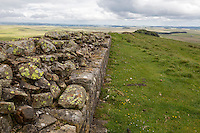 Northumberland, England, UK.  Hadrian's wall showing Internal Construction and Wall Facing, near Turret 35A.