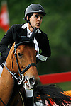 Spain's jockey Sergio Alvarez Moya with the horse Abab Van Het Molenhof during 102 International Show Jumping Horse Riding, Gran Prix of Madrid-Volvo Throphy.May, 19, 2012. (ALTERPHOTOS/Acero)