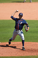 Cal State Fullerton Titans pitcher Connor Seabold (26) delivers a pitch during a game against the Louisville Cardinals on February 15, 2015 at Bright House Field in Clearwater, Florida.  Cal State Fullerton defeated Louisville 8-6.  (Mike Janes/Four Seam Images)