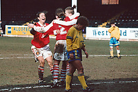 Marianne Spacey (L) of Arsenal celebrates a goal with her team mates during Arsenal Ladies vs Doncaster Belles, FA Women's Cup Semi-Final Football at Millmoor on 19th March 1995