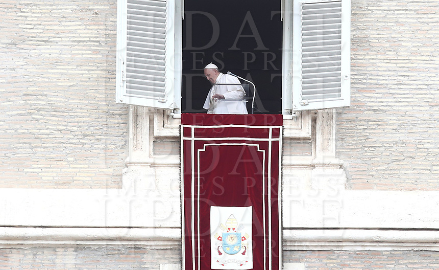 Pope Francis leaves after leading the Sunday Angelus noon prayer from the window of his studio overlooking St.Peter's Square, at the Vatican, Sunday, March 14, 2021<br /> UPDATE IMAGES PRESS/Isabella Bonotto<br /> <br /> STRICTLY ONLY FOR EDITORIAL USE