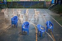 """Chairs are piled after a union's meeting of supporters of former Bolivian President Evo Morales, known as coca growers """"cocaleros"""", in Lauca Eñe, Chapare province, Bolivia. November 26, 2019.<br /> Les chaises sont empilées après une réunion syndicale des partisans de l'ancien président bolivien Evo Morales, connu sous le nom de cultivateurs de coca """"cocaleros"""", à Lauca Eñe, province du Chapare, Bolivie. 26 novembre 2019."""