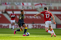 13th March 2021; Riverside Stadium, Middlesbrough, Cleveland, England; English Football League Championship Football, Middlesbrough versus Stoke City; Jacob Brown of Stoke City on the ball under pressure from Paddy McNair of Middlesbrough