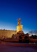 Felipe IV statue at Plaza de Oriente, Madrid, Spain