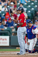 Oklahoma City RedHawks catcher Carlos Perez (20) at bat during the Pacific Coast League baseball game against the VVV on July 9, 2013 at the Dell Diamond in Round Rock, Texas. Round Rock defeated Oklahoma City 11-8. (Andrew Woolley/Four Seam Images)