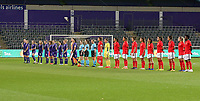 Line up at the start of a female soccer game between RSC Anderlecht Dames and Portugese Benfica Ladies  in the second qualifying round for the Uefa Womens Champions League of the 2020 - 2021 season , Wednesday 18 th of November 2020  in ANDERLECHT , Belgium . PHOTO SPORTPIX.BE | SPP | SEVIL OKTEM