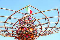Milano 2 maggio 2015<br /> EXPO 2015. Particolare della sommità dell'albero della vita con la bandiera italiana.<br /> EXPO 2015. Detail of the top of the tree of life with the Italian flag.<br /> Photo Livio Senigalliesi
