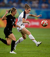 Heather O'Reilly. The USWNT defeated New Zealand, 4-0, during the 2008 Beijing Olympics in Shenyang, China.  With the win, the USWNT won group G and advanced to the semifinals.