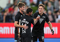 Dwayne Rowsell, Jared Panchia and Marcus Child celebrate the win during the Pro League Hockey match between the Blacksticks men and the Argentina, Nga Punawai, Christchurch, New Zealand, Friday 28 February 2020. Photo: Simon Watts/www.bwmedia.co.nz