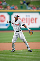 Wisconsin Timber Rattlers third baseman Jose Cuas (1) throws to first base during a game against the Fort Wayne TinCaps on May 10, 2017 at Parkview Field in Fort Wayne, Indiana.  Fort Wayne defeated Wisconsin 3-2.  (Mike Janes/Four Seam Images)