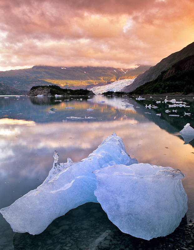 Iceberg, glacier and sunrise. Shoup Bay, Alaska