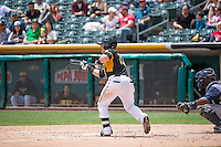 Daniel Robertson (13) of the Salt Lake Bees squares to bunt against the Colorado Springs Sky Sox at Smith's Ballpark on May 24, 2015 in Salt Lake City, Utah.  (Stephen Smith/Four Seam Images)