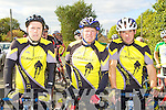 Adrian O'Connell, Patrick Breen and Currow CC line up at the County Cycling Championships in Cordal on Saturday