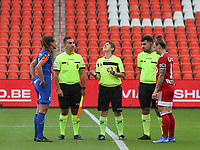 Referee Sylvie Deckers throws the coin in the air before a female soccer game between Standard Femina de Liege and KAA Gent Ladies on the second match day of the 2021 - 2022 season of Belgian Scooore Womens Super League , Saturday 28 th of August 2021  in Liege, Belgium . PHOTO SPORTPIX | SEVIL OKTEM