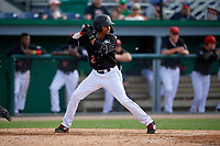 Batavia Muckdogs Gerardo Nunez (2) bats during a NY-Penn League game against the Auburn Doubledays on June 19, 2019 at Dwyer Stadium in Batavia, New York.  Batavia defeated Auburn 5-4 in eleven innings in the completion of a game originally started on June 15th that was postponed due to inclement weather.  (Mike Janes/Four Seam Images)