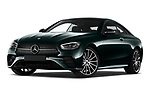 Stock pictures of low aggressive front three quarter view of 2021 Mercedes Benz E-Class AMG-Line 2 Door Coupe Low Aggressive
