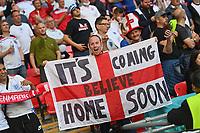 7th July 2021, Wembley Stadium, London, England; 2020 European Football Championships (delayed) semi-final, England versus Denmark;  English fans in the fan block