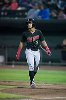 Great Falls Voyagers shortstop Lenyn Sosa (2) during a Pioneer League game against the Idaho Falls Chukars at Melaleuca Field on August 18, 2018 in Idaho Falls, Idaho. The Idaho Falls Chukars defeated the Great Falls Voyagers by a score of 6-5. (Zachary Lucy/Four Seam Images)