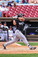 Lansing Lugnuts outfielder Brock Lundquist (33) swings at a pitch during a Midwest League game against the Wisconsin Timber Rattlers on May 8, 2018 at Fox Cities Stadium in Appleton, Wisconsin. Lansing defeated Wisconsin 11-4. (Brad Krause/Four Seam Images)