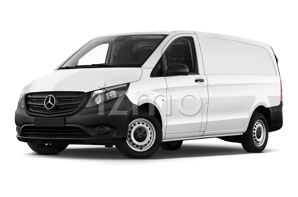 Stock pictures of low aggressive front three quarter view of 2019 Mercedes Benz Vito Select 4 Door Car Van Low Aggressive