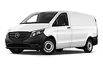 Stock pictures of low aggressive front three quarter view of 2019 Mercedes Benz Vito Select 4 Door Car Van Low Aggressive