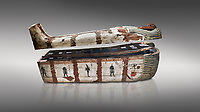 """Ancient Egyptian wooden sarcophagus - the coffin of Puia circa 1800BC - Thebes Necropolis. Egyptian Museum, Turin. Grey background<br /> <br /> From about 100BC """"anthropoid """" sarcophagi with fihure shaped lids started to replace rectangular coffins. Pia was probably the son of Puyemre, a high official of Thebes and second priest of Amon under the woman pharoah, Hatshepsut (1479-1458). The sarcophagus was excavated by Robert Mond from a shaft grave found close to the tomb of Puyemre in Thebes Necropolis."""