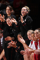 STANFORD, CA - DECEMBER 13:  Michelle Harrison, Sarah Boothe, Hannah Donaghe, Melanie Murphy, Mikaela Ruef, Grace Mashore and Ashley Cimino of the Stanford Cardinal during Stanford's 96-60 win over DePaul on December 13, 2009 at Maples Pavilion in Stanford, California.