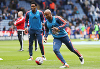Andre Ayew of Swansea City warms up before the Barclays Premier League match between Leicester City and Swansea City played at The King Power Stadium, Leicester on April 24th 2016