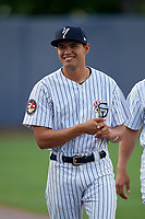 Staten Island Yankees Alex Mejias (56) before a NY-Penn League game against the Aberdeen Ironbirds on August 22, 2019 at Richmond County Bank Ballpark in Staten Island, New York.  Aberdeen defeated Staten Island 4-1 in a rain shortened game.  (Mike Janes/Four Seam Images)