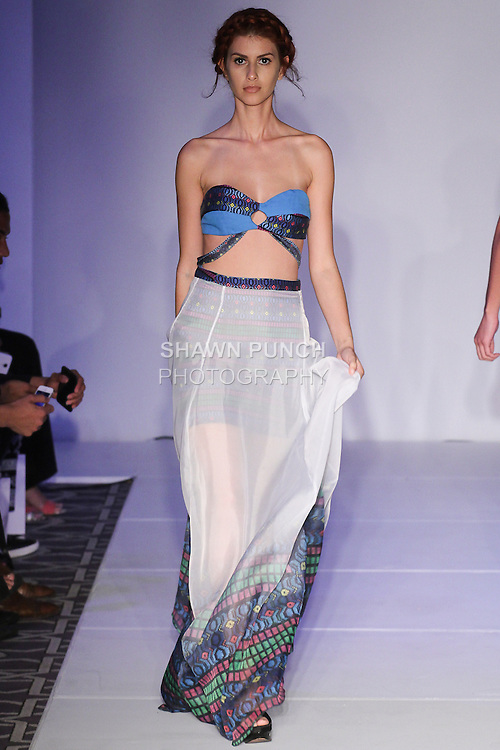 Model walks runway in an outfit from the Casvi Spring Summer 2016 collection by Ericka Castaneda, for the Emerging Designers fashion show, at Fashion Gallery NYFW Spring Summer 2016 show, during New York Fashion Week.