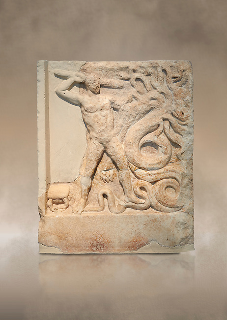 Ancient Greek relief panel depicting the slaying of the Lernaian Hydra from the Labours of Hercules, Mylos, 3rd Cent BC Athens National Archaeological Museum. Cat no 3617
